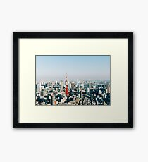 Tokyo Cityscape With Tokyo Tower on Sunny Day Framed Print