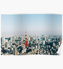 Tokyo Cityscape With Tokyo Tower on Sunny Day Poster