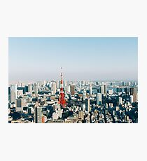 Tokyo Cityscape With Tokyo Tower on Sunny Day Photographic Print