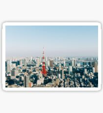 Tokyo Cityscape With Tokyo Tower on Sunny Day Sticker