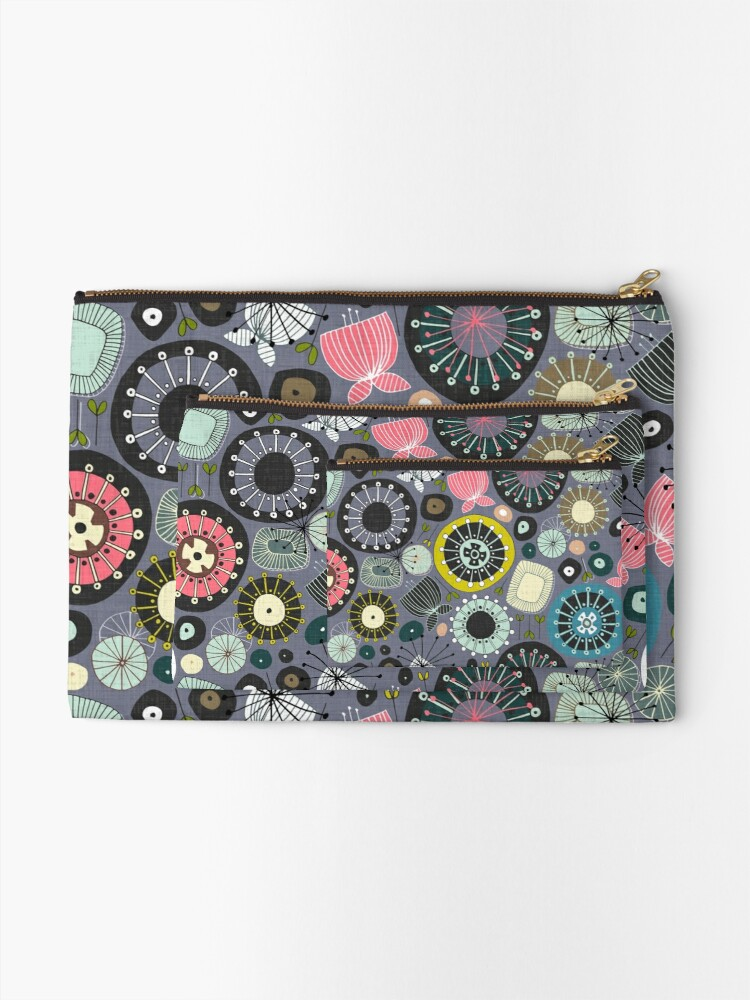 Alternate view of blooms amethyst Zipper Pouch