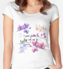 Paint Flowers Women's Fitted Scoop T-Shirt