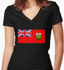 Flag of Ontario, Canada. Women's Fitted V-Neck T-Shirt