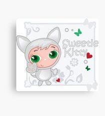 Cute funny kitten vector illustration Canvas Print