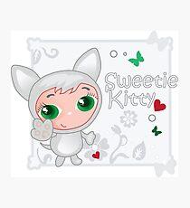 Cute funny kitten vector illustration Photographic Print