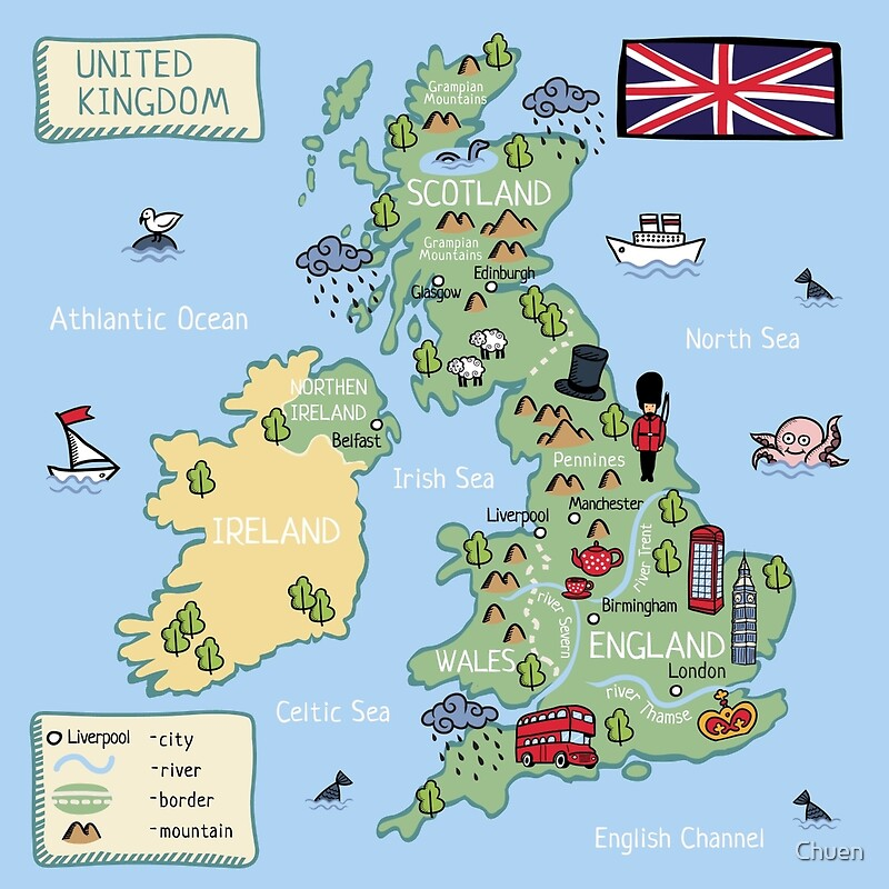 Cartoon map United Kingdom Posters by Chuen Redbubble