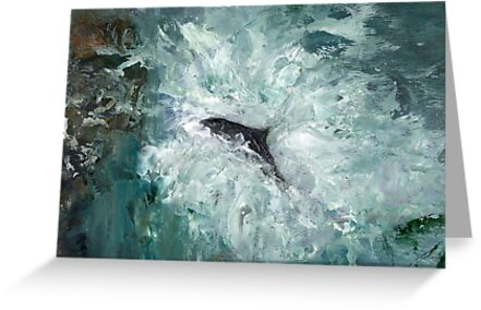 Leaping Salmon by Carol Rowland