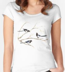 Watercolor Magpie Bird Family Women's Fitted Scoop T-Shirt