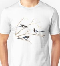 Watercolor Magpie Bird Family Unisex T-Shirt