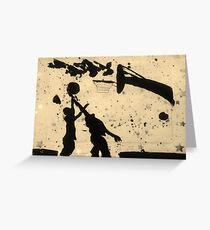 Spring Basketball Fun Silhouette Greeting Card