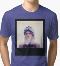 Polaroid of Blond Female Hippie Looking Into Camera Tri-blend T-Shirt
