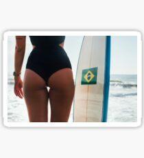 Bum of Hot Female Surfer Girl Posing With Surfboard on Ipanema Beach in Rio de Janeiro Sticker