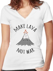 MAKE LAVA NOT WAR Women's Fitted V-Neck T-Shirt