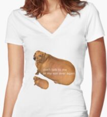 Don't talk to me or my son ever again - geek Women's Fitted V-Neck T-Shirt