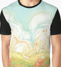 Meadow Frolic Watercolor Fox Kitsune Pattern Graphic T-Shirt