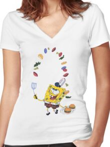Spongebob and Krabby Patties Women's Fitted V-Neck T-Shirt