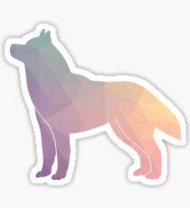 Siberian Husky Colorful Geometric Pattern Silhouette - Pastel Sticker
