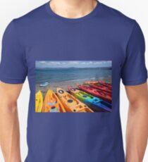 Multi colored kayaks. Unisex T-Shirt