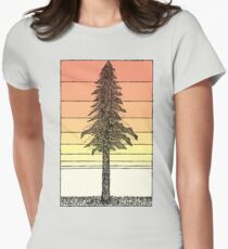 Coastal Redwood Sunset Sketch Women's Fitted T-Shirt