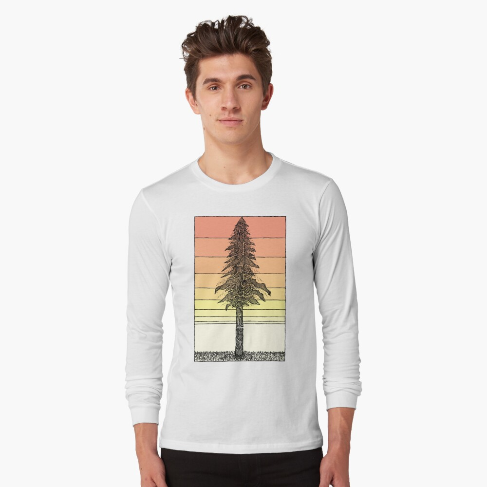 Coastal Redwood Sunset Sketch Long Sleeve T-Shirt