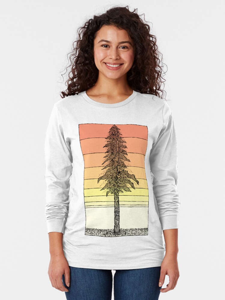 Alternate view of Coastal Redwood Sunset Sketch Long Sleeve T-Shirt