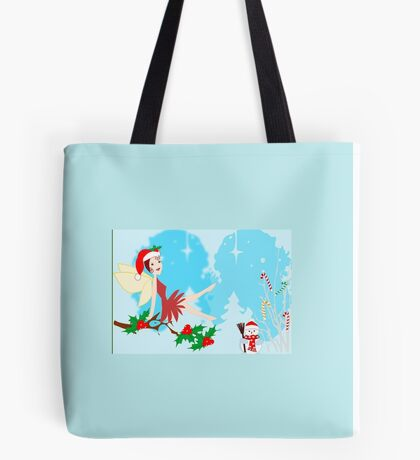 A Fairy sitting on a Holly branch ( 1154  Views) Tote Bag