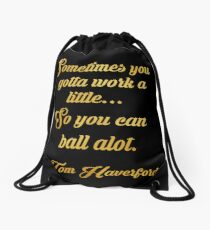 Tom haverford quote Drawstring Bag