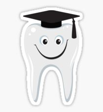 Happy wisdom tooth with mortarboard sticker Sticker