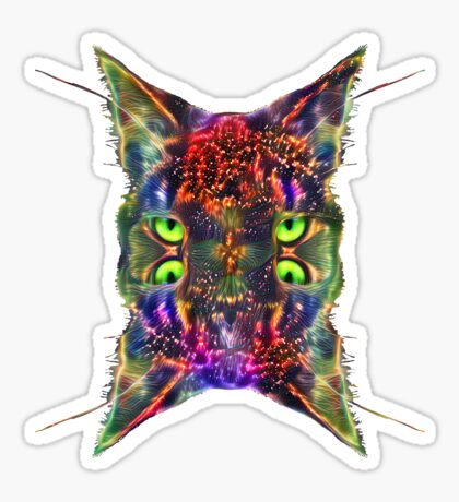 Artificial neural style Space galaxy mirror cat Sticker
