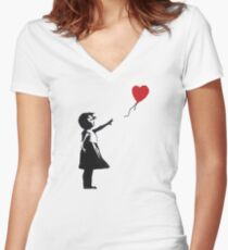 Banksy - Girl with Balloon Women's Fitted V-Neck T-Shirt