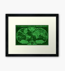 World Map (1691) Dark Green & Green Framed Print