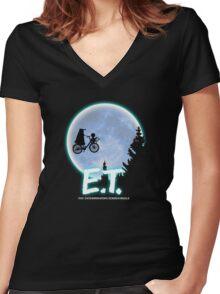 Exterminating Terrestrials Women's Fitted V-Neck T-Shirt