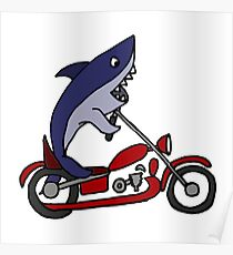 Cool Funny Blue Shark on Red Motorcycle Poster
