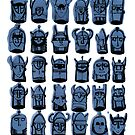 Wee Helmeted Blue Folk by LotteFisher
