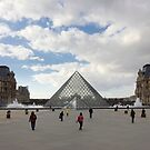 People In Town - Louvre Pyramid Paris by Yannick Verkindere