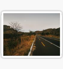 Full Moon Over Tarmac Road in National Park Sticker