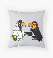 Cool Funny Parrot Birds Bride and Groom Art Throw Pillow