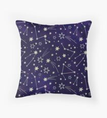 Constellation Night Sky Stars zodiac Indigo Galaxy Throw Pillow