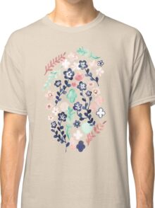 Scattered Floral in Navy, Teal & Pink Classic T-Shirt