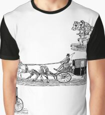 Old carriage, horses, vintage vehicle, steampunk illustration Graphic T-Shirt