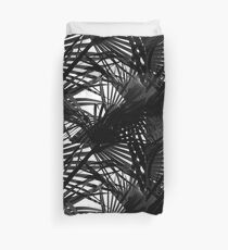 Light in Palm leaves Black and White Pattern Duvet Cover