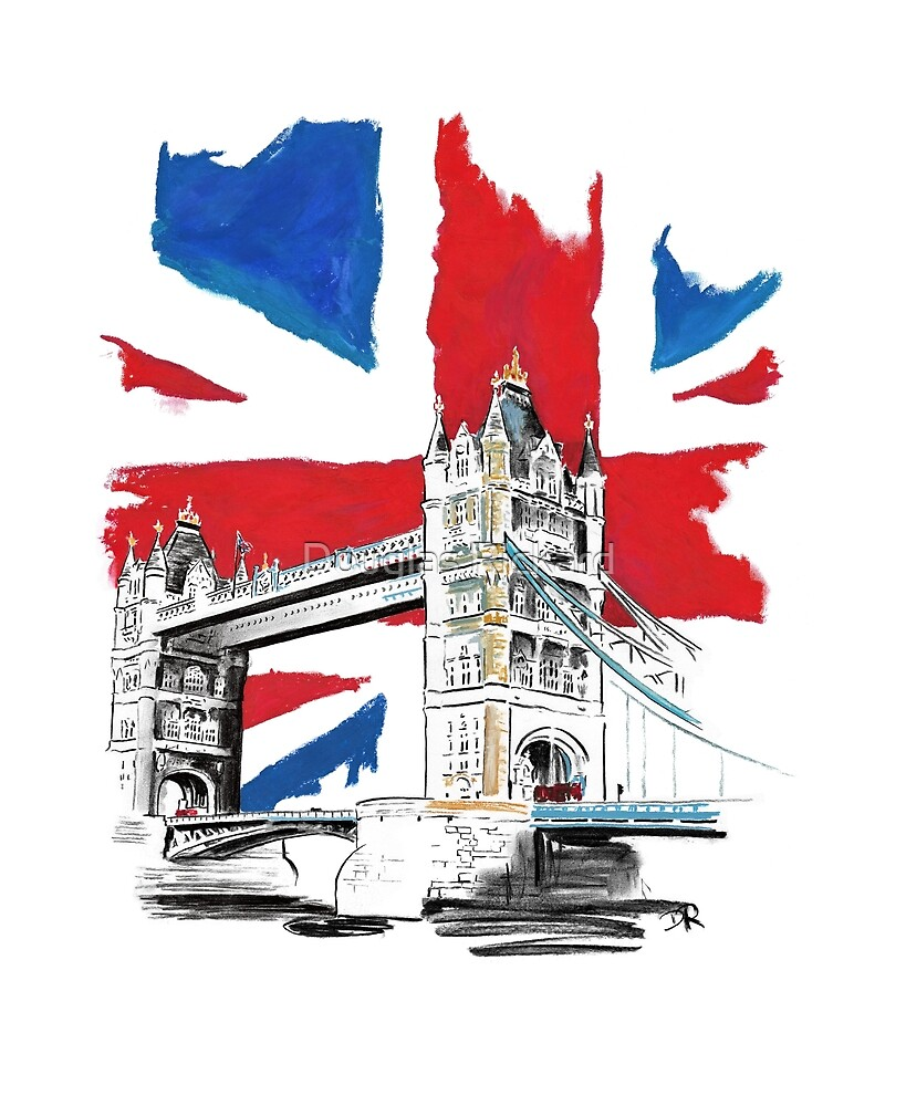 British Union Jack Flag - Tower Bridge, London by Douglas Rickard