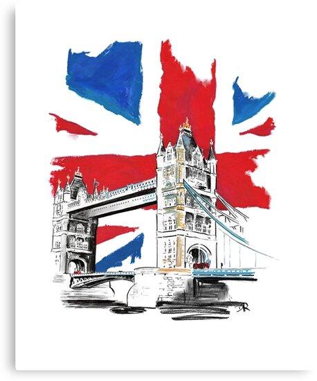 British Union Jack Flag - Tower Bridge, London by Douglas Rickard