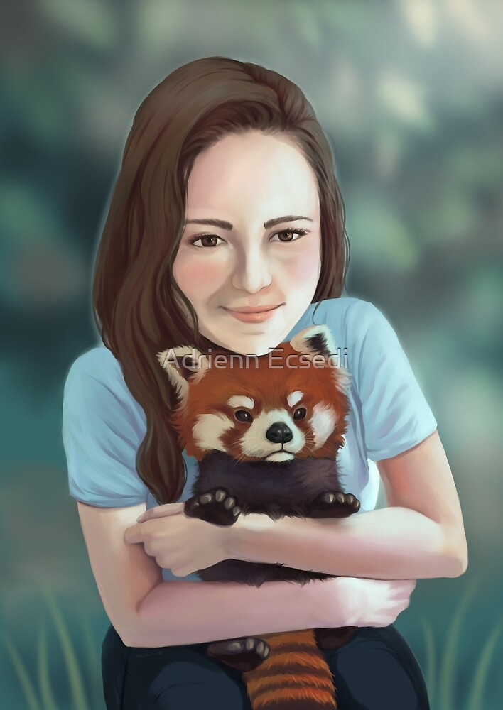 Red Panda Hug by Adrienn Ecsedi