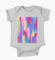 Vertical Watercolor Abstract Vivid Colorful Pop One Piece - Short Sleeve