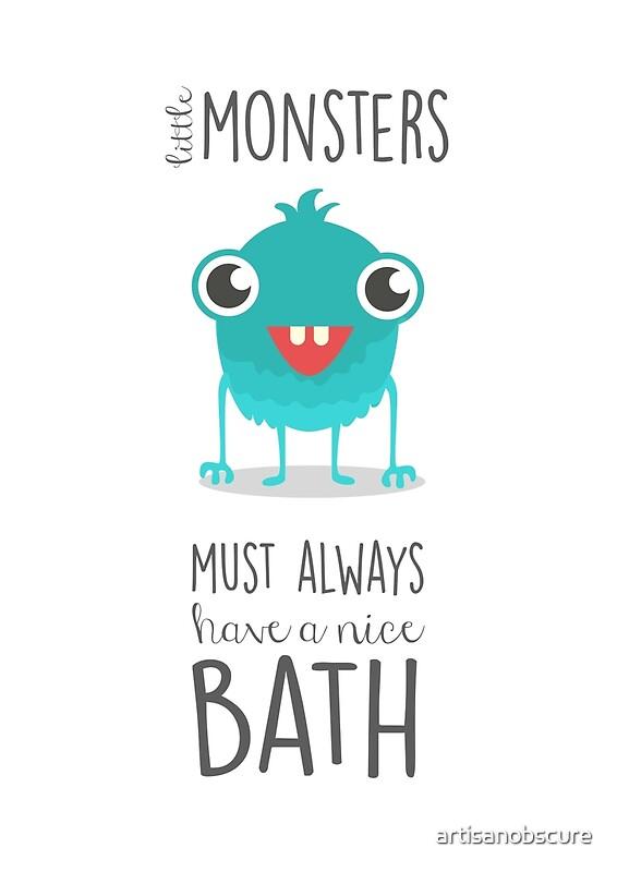 bathroom art, monsters, children\'s art, bath time rules\