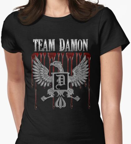Team Damon Blood Crest Womens Fitted T-Shirt