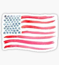Pegatina Bandera americana acuarela