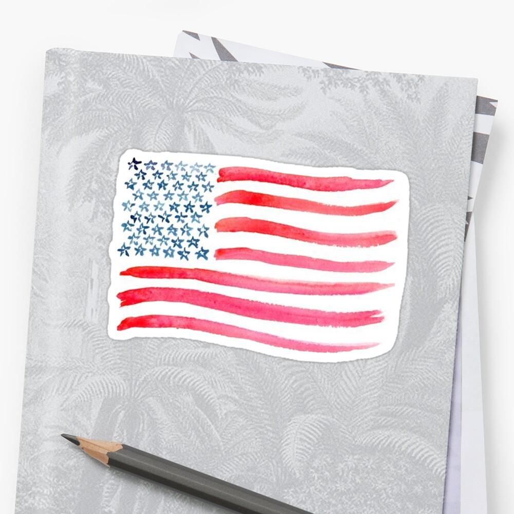 «Bandera americana acuarela» de missgrumpypants