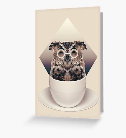 Caffeinimals: Owl Greeting Card